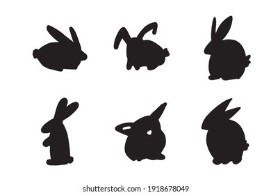 bunny silhouette illustration for your design. Easter bunny