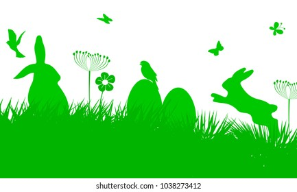 Bunny Sitting In The Meadow with Easter egg, Easter concept with butterfly and birds – stock vector