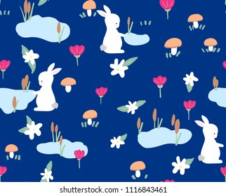 Bunny with spring flowers seamless pattern on blue background. Cute childlike style holiday background. Design for textile, fabric, decor.