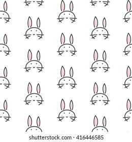 Bunny stylized line fun seamless pattern for kids and babies. Cute animal fabric design for textile linen and apparel in scandinavian simple style.