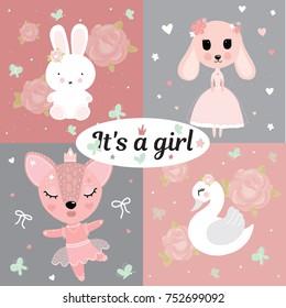 Bunny swan deer balet baby girl room