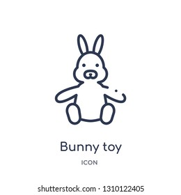 bunny toy icon from toys outline collection. Thin line bunny toy icon isolated on white background.