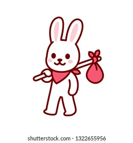 Bunny vagabond character drawing. Simple and cute cartoon bunny travelling with hobo sack. Kawaii vector illustration.