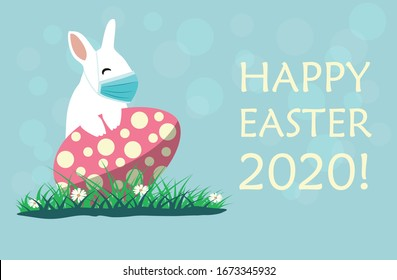 Bunny wearing a face mask against covid-19. Easter greeting card. Coronovirus alert for Easter 2020.