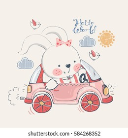 bunny.rabbit in car.hand drawn vector illustration.can be used for kid's or baby's shirt  design,fashion graphic, kids wear, baby shower card,celebration card,greeting card, invitation card
