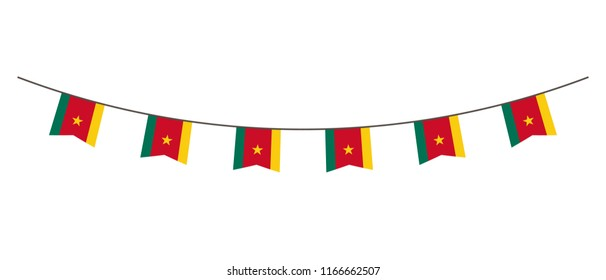 Bunting decoration in colors of Cameroon flag. Garland, pennants on a rope for party, carnival, festival, celebration. For National Day of  Cameroon on August18