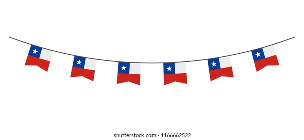 Bunting decoration in colors of Chile flag. Garland, pennants on a rope for party, carnival, festival, celebration. For National Day of  Chile on August 18
