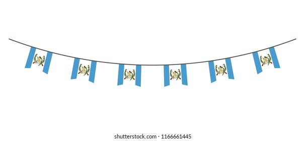 Bunting decoration in colors of Guatemala flag. Garland, pennants on a rope for party, carnival, festival, celebration. For National Day of  Guatemala on August18