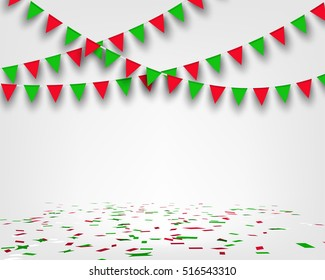 Bunting flag and confetti on floor with copy space. Concept design for greeting card , banner, poster for new year and Christmas party in vector illustration