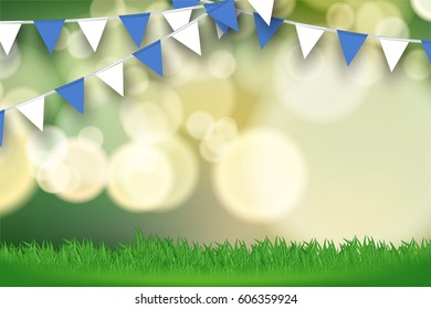 bunting flag on green bokeh background template stock vector