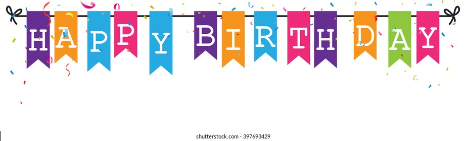 Bunting flags banner with happy birthday letters