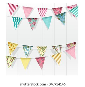 Bunting flags decoration on isolated background.vector