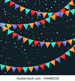 Bunting flags garland. Favorable celebration card. Bright holiday decorations and confetti. Bunting flags garland vector illustration.