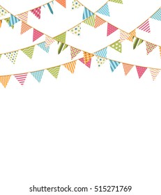 Bunting flags on white background, vector eps10 illustration