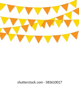 bunting flags orange color background isolated vector