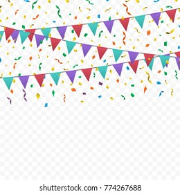 Bunting flags, ribbons and confetti on transparent checkered background. Template design for xmas, birthday, event, carnival, celebration, anniversary and holiday party background. Vector illustration