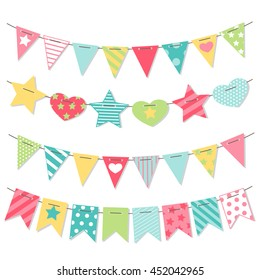 Bunting and garland set. Cute party flags. Holiday decorations. Vector illustration