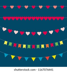 Bunting. Garlands of paper flags. Flags for party, for birthday, for wedding. Chain of colorful flags.