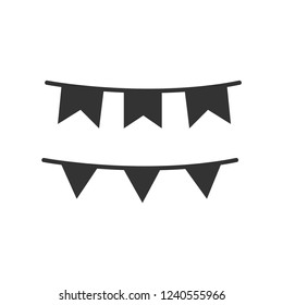 bunting icon, decoration, party, birthday, banner, decorative, holiday, flag, festival vector isolated for web