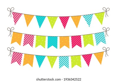 Bunting for party, birthday, carnival and event. Bright banners and flags of decoration. Hanging string, triangles, garland for fun. Blue, green, pink, orange colors. Celebration anniversary. Vector.