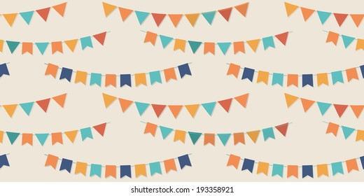 Bunting party flags seamless vector pattern for your designs (birthday party, wedding celebration, wrapping paper, textile, wallpaper)