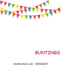 Buntings flags garlands on white background - vector illustration