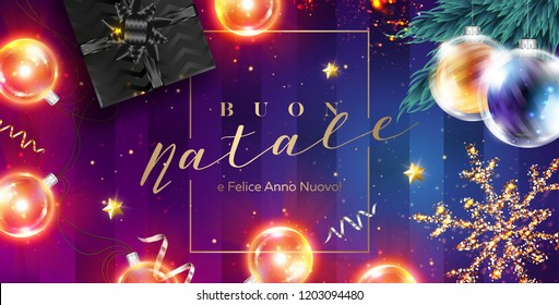 Buon Natale e Felice Anno Nuovo Vector Card. Merry Christmas and Happy New Year in Italian. Xmas Poster Template with Frame, Black Gift Box, Ribbon, Christmas Lights, Golden Glittering Star.