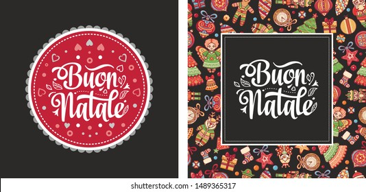Buon Natale greeting card - Calligraphy phrase Buon Natale - Christmas on different  languages. Buon Natale - Italian Christmas. Xmas poster. Xmas banner card. Chrismas in Italy. Christmas lettering