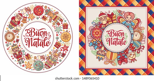 Buon Natale - Italian Christmas. Christmas in different languages. Winter holidays in Italy. English translation-Happy Christmas. Buon Natale greeting card - Calligraphy phrase Buon Natale