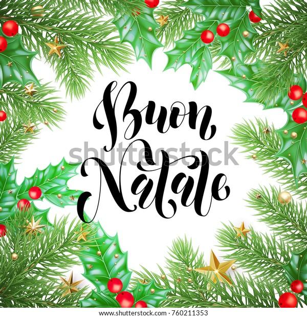 Immagini Free Natale.Buon Natale Italian Merry Christmas Holiday Stock Vector