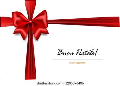 Buon Natale - Merry Christmas italian greetings. Holiday Christmas red gift silk bow. Xmas textile decor. Realistic 3d vector illustration.
