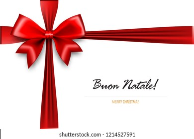 Buon Natale - Merry Christmas italian greetings. Holiday Christmas red gift silk bow. Xmas textile decor. Realistic 3d vector illustration.