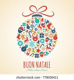 Buon Natale - Merry Christmas in Italian. Christmas card with ornaments. Vector.