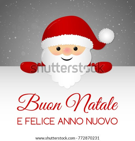 buon natale merry christmas in italian christmas card with ornaments vector