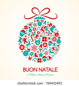 Buon Natale - Merry Christmas in Spanish. Concept of Christmas card with decoration. Vector.