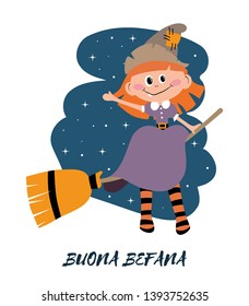 Buona Befana greeting cards with sitting Befana on a broomstick. Italian Christmas tradition. Holiday theme