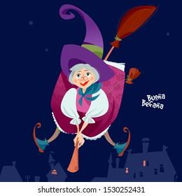 Buona Befana (happy Epiphany). Old woman flying on a broomstick. Italian Christmas tradition. Vector illustration.