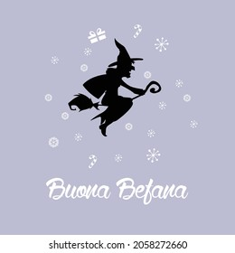 Buona Befana mean happy Epiphany Christmas Tradition in Italy. Buona Festa della Befana, felice festa della Befana, con strega volante. Illustrazione vettoriale. Concetto di design, elemento per carta