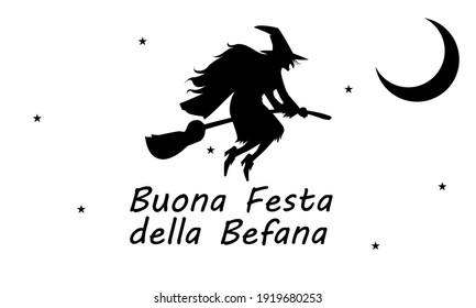 Buona Festa della Befana with flying witch, vector art illustration. Buona Festa della Befana - Happy Feast of the Befana.