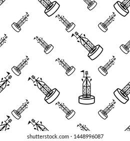 Buoy Icon Seamless Pattern, Float Buoy Icon Vector Art Illustration