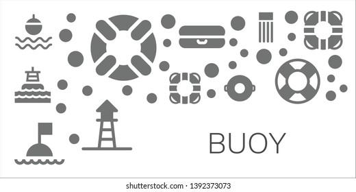 buoy icon set. 11 filled buoy icons.  Collection Of - Float, Lifesaver, Buoy, Lifebuoy, Lifeguard