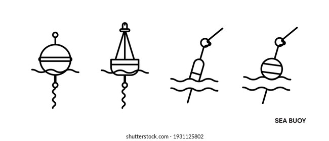 Buoy icon set in the middle of the sea. This symbol is the equipment icon symbol found in the sea. Editable icon set. Fishing club or online web shop creative vector line art.