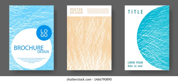 Buoyant wavy flux background pattern. Blue, sea green, sand color textures. Corporate finance book cover.