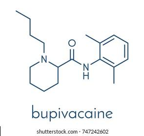 Bupivacaine epidural anesthetic drug molecule (local anesthetic). Skeletal formula.