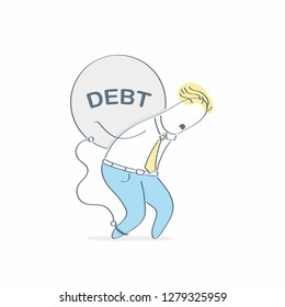 Burden, businessman carry debt, pulling a huge weight with a debt word. Financial debtor, bankruptcy, duties, heavy burden concept vector illustration on white background