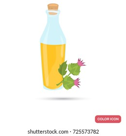 Burdock oil bottle color flat icon