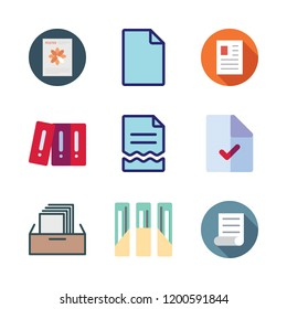 bureaucracy icon set. vector set about filing cabinet, file and archives icons set.