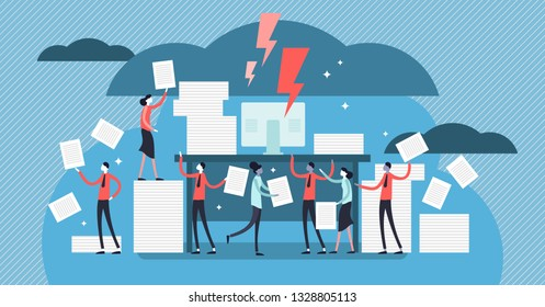Bureaucracy vector illustration. Flat tiny paperwork pile persons concept. Government employee job with documentation files. Inefficient stressful corporate administration system with printed archive.