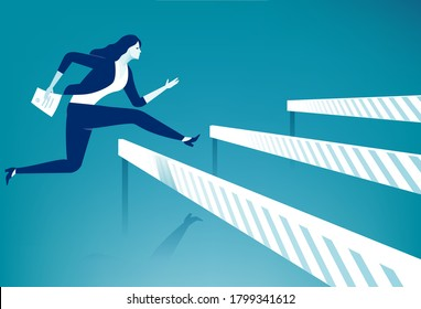 Bureaucracy. Woman jumps over ascending obstacles with stamped document. Vector illustration