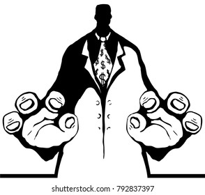 Bureaucrat figure grab stencil black cartoon, vector illustration, vertical, isolated
